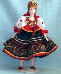 Doll gift. The girl in the suit 'Khokhloma' (styling).
