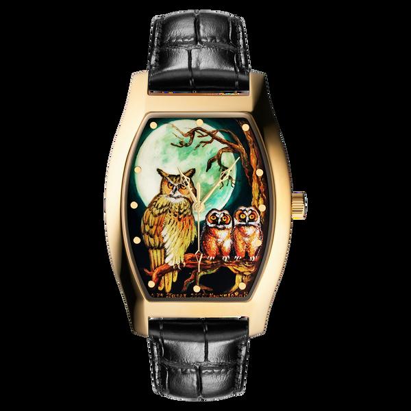 "Palekh watch ""Night №74"" quartz, hand-painted, artist Kornilova, black band"