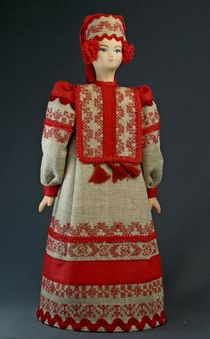 Doll gift porcelain. Russia. Maiden traditional canvas outfit. 18-19 centuries.