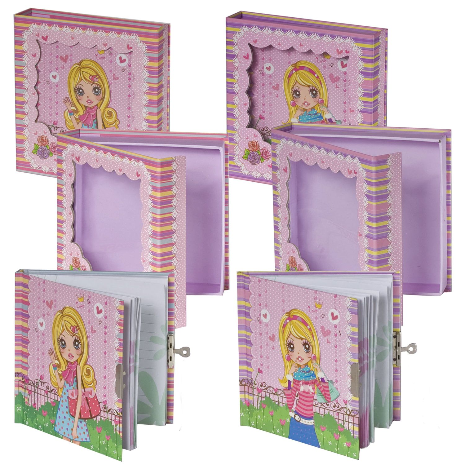 """BRAUBERG / Notebook """"Girl"""" SMALL FORMAT 60 sheets A6, 145x155 mm, hardcover, metal lock, sequins, line"""