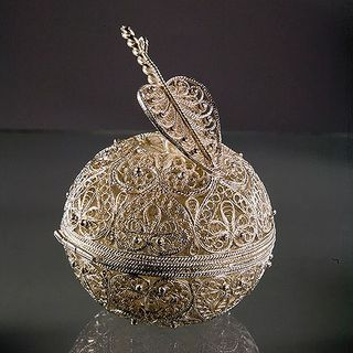 "Souvenir ""Apple"", Kazakov filigree, silver plating"