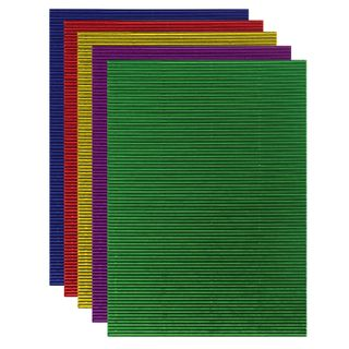 Colored paper A4 CORRUGATED, 5 sheets 5 colors, 250 g/m2, METALLIC TREASURE ISLAND