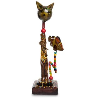 """Wooden statuette """"cat with fish"""" by 35 cm"""