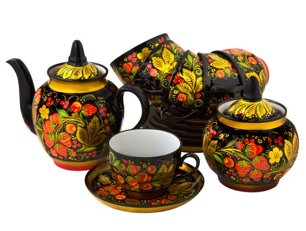 Tea set with Khokhloma painting