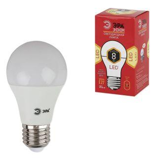 ЭРА / Лампа светодиодная 8 (55) Вт, цоколь E27, грушевидная, теплый белый свет, 25000 ч., LED smdA55\60-8w-827-E27ECO