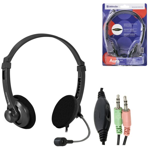 DEFENDER / Headphones with microphone (headset) Aura 104, wired, computer, 1.8 m, black