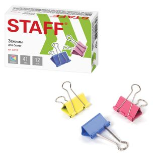 The holders STAFF Profit, SET 12 pieces, 41 mm, up to 200 sheets, colored cardboard box