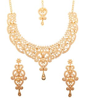 Touchstone Indian Bollywood Fine Filigree White Faux Pearls Grand Bridal Jewelry Necklace Set In Antique Gold Tone For Women