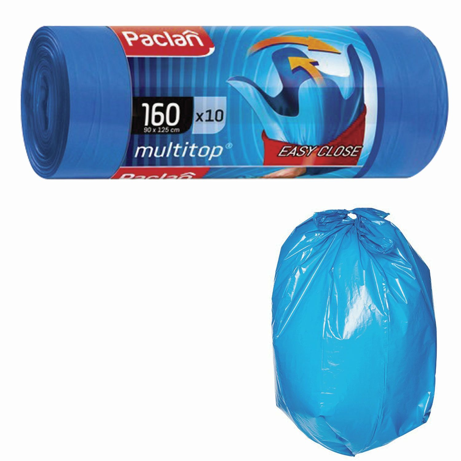 "PACLAN / Garbage bags ""Multitop"" 160 l with ears, blue, LDPE, 30 microns, 90x125 cm, roll of 10 pcs."
