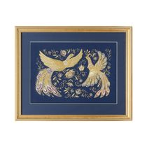 Panel 'the Firebird' blue with gold embroidery
