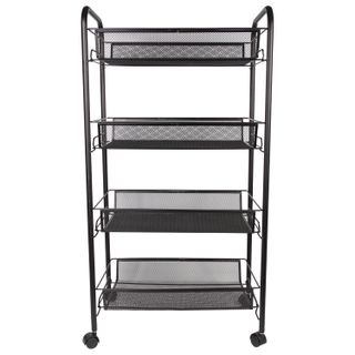BRABIX / Office and household shelf (trolley) 4 tiers, on wheels, metal, black, 43.5х26х83.5 cm