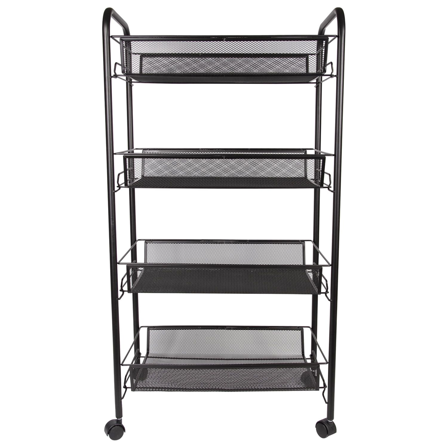 BRABIX / Office and household shelf (trolley) 4 tiers, on wheels, metal, black, 43.5х26х83.5 cm