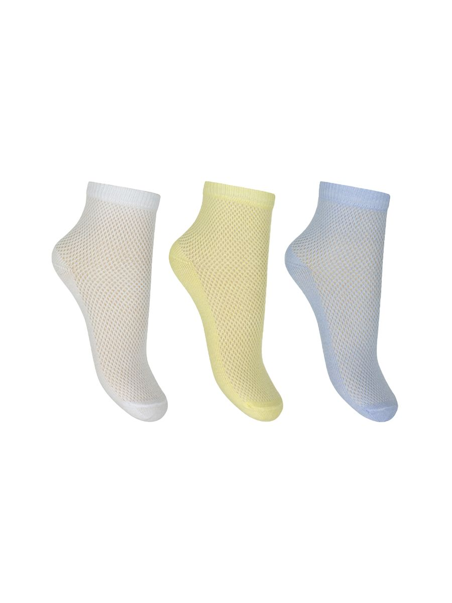 A set of socks mesh: white, blue, yellow