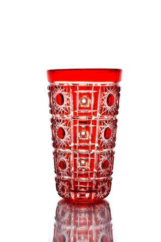 "Crystal vase for flowers ""Vasilisa"" small red"