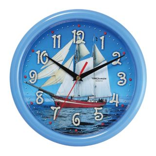 Wall clock TROYKA 21241250, round, blue with a picture of