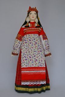 Doll gift porcelain. Ryazan province. Women's festive costume. The middle of the 19th century.