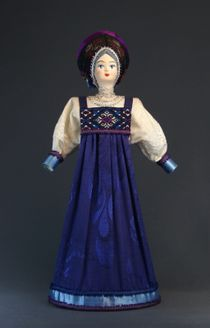 Doll gift porcelain. Girlish costume of the 19th century Russia.