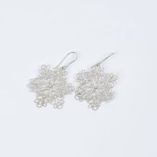 Earrings snowflake silvering, Kazakovskaya Filigree