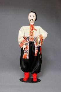 Doll gift porcelain. Suit the Zaporozhye Cossacks. 18th century.