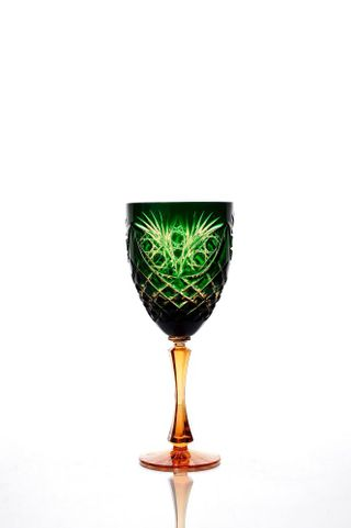 "A set of crystal glasses for wine ""Pharaoh"" amber-green 6 pieces"