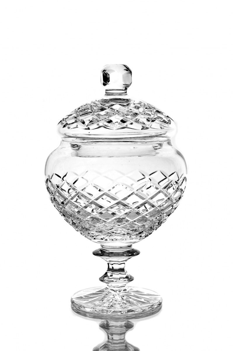 """Crystal vase for sweets with lid """"Lyubava"""" colorless"""