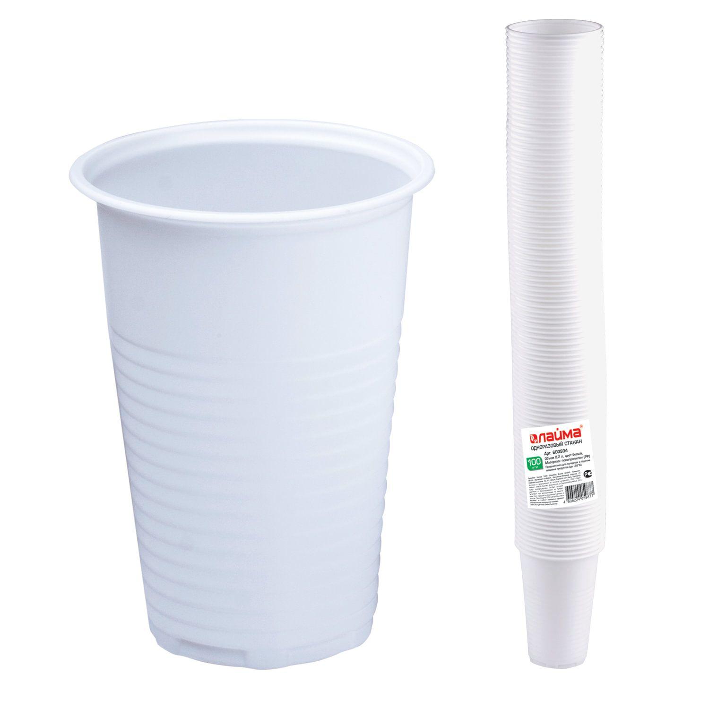"LIMA / Disposable glasses 200 ml, SET 100 pcs., Plastic, ""BUDGET"", white, PP, cold / hot"