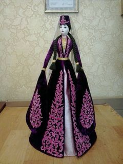 Doll in purple suit with hand embroidery with Golden details, Asik, 55 cm