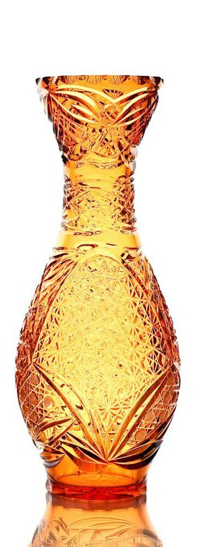 """Crystal vase for flowers """"Hope"""" small amber"""