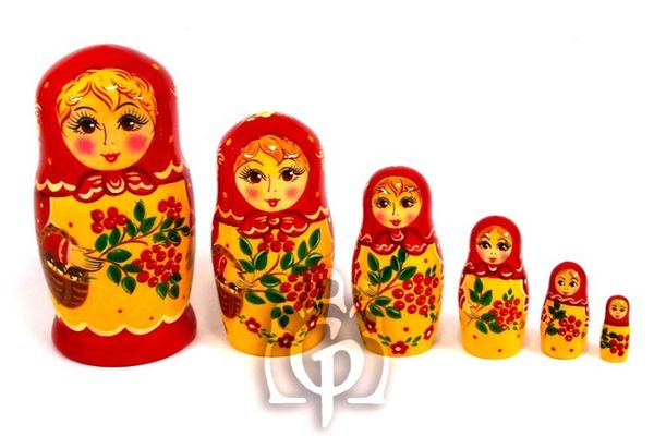 Russian woman - matryoshka booklet, 6 dolls - booklet number 24