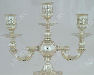 Candlestick trehrozhkovy silver