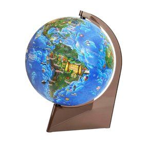 Children's globe 210mm on a triangle on a plastic stand