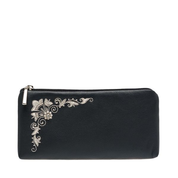 Leather eyeglass case 'Glow' in dark blue with silver embroidery