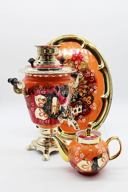 """Dulevo porcelain / Electric samovar 3 l. """"Capercaillie"""" in a set with auto-off."""