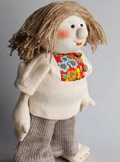 Textile souvenirs, toys, designer objects of linen and cotton.