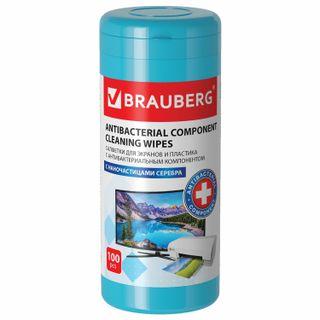 "BRAUBERG / ANTIBACTERIAL napkins for screens and plastic ""XXL"", dense, 13x17 cm, 100 pcs."