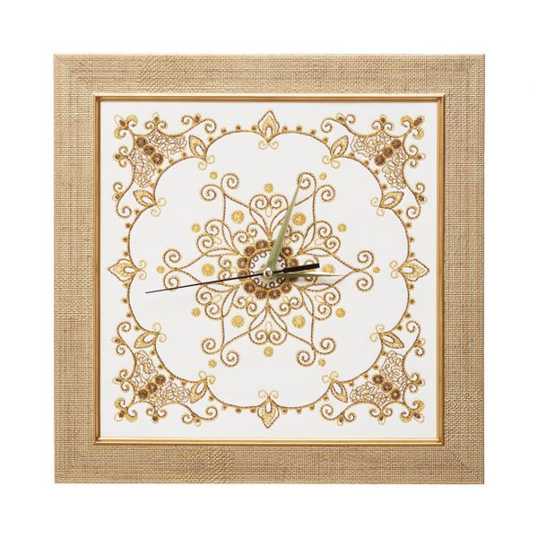 Panel-clock 'Lace' of white color with Golden embroidery