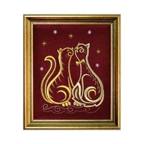 Panel 'Cats' Burgundy with gold embroidery