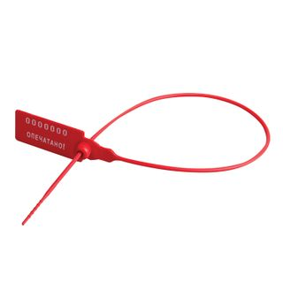 Seals plastic numbered, self-locking, length of the working part 320 mm, red, set of 1000 pcs.
