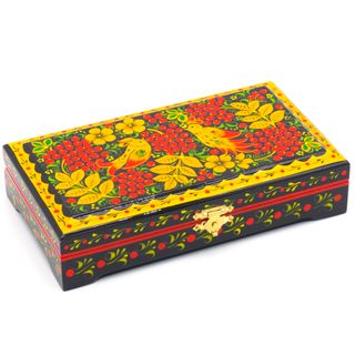 "The box ""Red Ribes"" is wooden with flat cover 180х100"