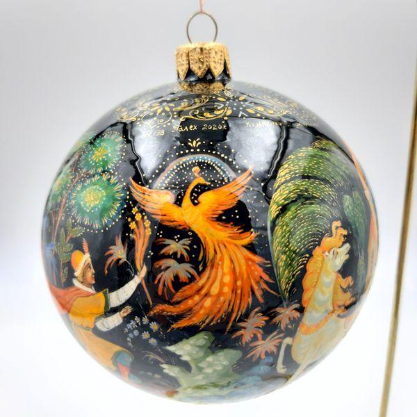 """Palekh / Christmas tree ball """"Firebird"""" glass, master Kuzmenko"""