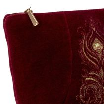 Velvet cosmetic bag 'Aida' Burgundy with gold embroidery