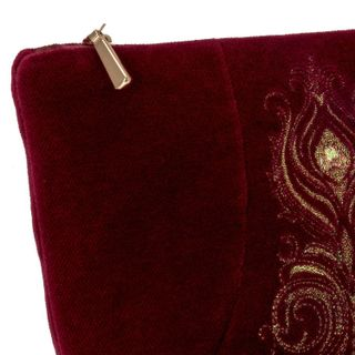 "Velvet cosmetic bag ""Aida"" Burgundy with gold embroidery"