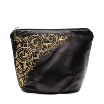 Leather cosmetic bag 'Music' in black with gold embroidery