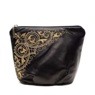 "Leather cosmetic bag ""Music"" in black with gold embroidery"