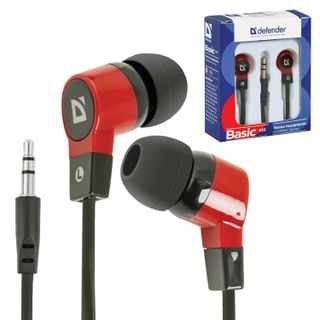 DEFENDER / Headphones Basic 619, wired, 1.1 m, in-ear, black with red