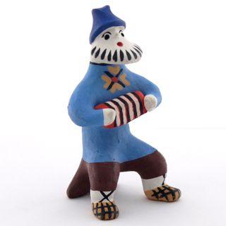 Kargopol clay toy Accordion in blue shirt