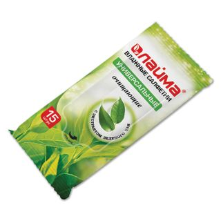 LIME / Wet wipes, 15 pcs., Universal cleansing, with green tea extract