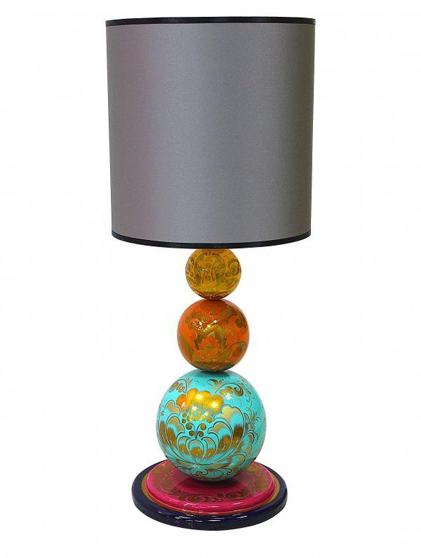 """Khokhloma painting / Table lamp """"Mosaic"""""""