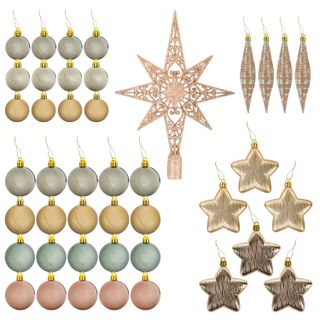 A set of decorations for spruce GOLDEN TALE, 43 pieces, gold + mother of pearl