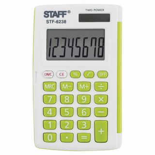 Pocket calculator STAFF STF-6238 (104x63 mm), 8 digits, double power supply, WHITE WITH GREEN BUTTONS, blister